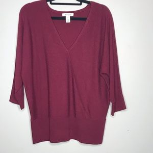 WHBM Maroon V-neck Sweater 3/4 Sleeve XL